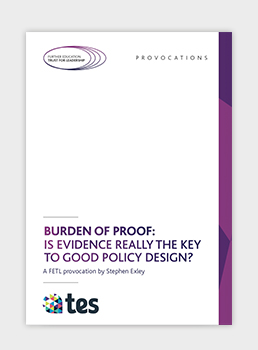 Burden of Proof: Is evidence really the key to good policy design?